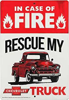 Open Road Brands Chevrolet in Case of Fire Rescue My Truck Embossed Metal Magnet - an Officially Licensed Product Great Addition to Add What You Love to Your Home/Garage Decor