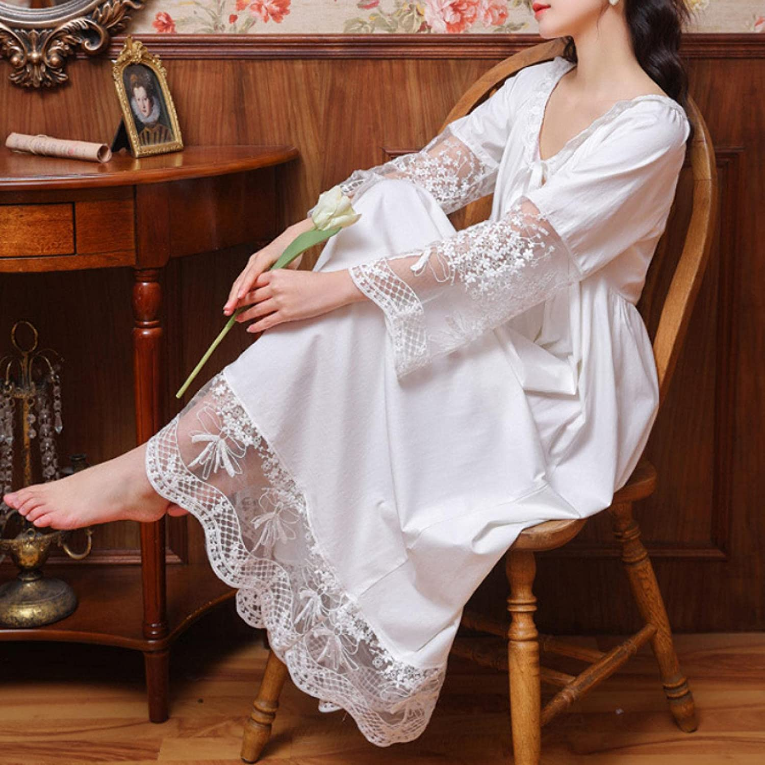 STJDM Nightgown Long Night Dress Vintage Overseas parallel import Be super welcome regular item Women White Embroidery