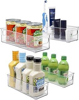 Sorbus プラスチック収納容器 積み重ね可能 透明 パントリーオーガナイザー ボックス 容器 キッチン 冷蔵庫 食品 スナック パントリー キャビネット 果物 野菜 浴室用品 (4個パック)