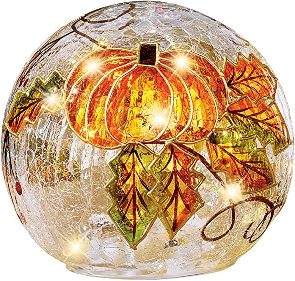 Collections Etc Lighted Sparkling Pumpkin Cracked Glass Ball With Fall Leaves Tabletop Indoor Decor