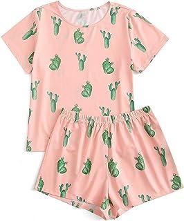SweatyRocks - Conjunto de pijama suave para mujer, con impresión tropical y ropa de dormir corta