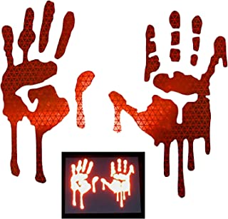 customTAYLOR33 High Intensity Grade Reflective Bloody/Dripping Hands Decals for Helmets, Windscreens, Rear Windows, Bumper Stickers (5 inches height, Red)