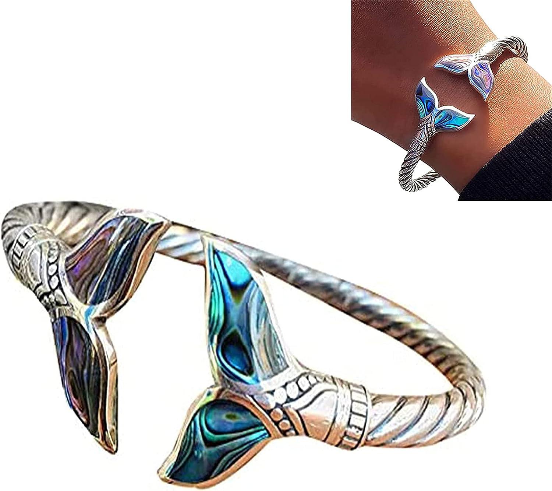 CHERITY Abalone Shell and Mermaid Tail Bangle Bracelet, Mermaid Bracelet for Women, Adjustable Open Hand Chain for Women Girls, Marine Style Jewelry Valentine's Day Gift for Girl