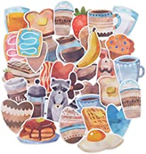 Yummy Bun Waterproof Laptop Stickers Funny Food Daily for Water Bottles, Boys,Girls, Women, Easily Remove No Residue, Coffee Animals Decals Watercolor Stickers for Scrapbook, Journal, Planner-35pcs