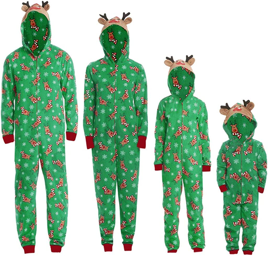 SOMESHINE Family Matching Christmas Pajamas Set Sleepwear Jumpsuit, Onesies with Cute Reindeer Graphics Hooded for Family(Green,Men: M)