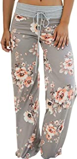 Women's Pajama Lounge Pants Floral Print Comfy Casual Stretch Palazzo Drawstring Pj..