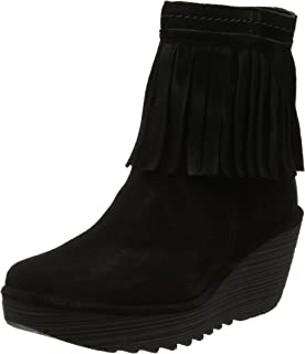 H by Hudson Black Leather Tassel Suede Fringe Biker Ankle Boots 5 38 to 6 39