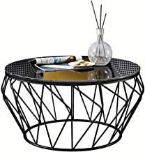 Round Wrought Iron Glass Coffee Table Small-Sized Hollow Corner for Living Room/Balcony/Modern Minimalist Furniture