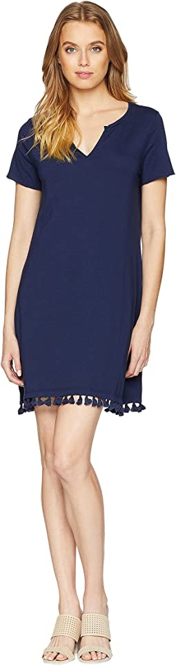 Notched Neck Tee Dress w/ Fringe