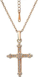 54a615af32f9 Style Objetivo Mujer Collar 18 K Rojo Dorado Oro con Cruz Colgante  Circonitas cristales 49 cm