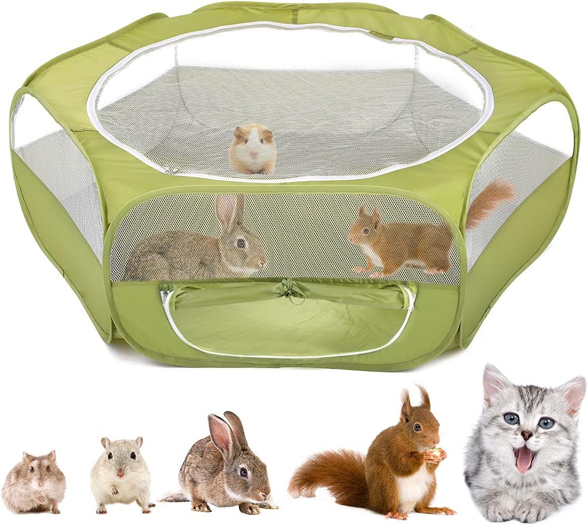 VavoPaw Valla Portátil de Mascotas, 190T Tafetán Parque Corral Plegable Cremallera Lateral Casa Portátil Transpirable Jaula para Perros Gatos Conejos Cachorros Animales Domésticos, Verde