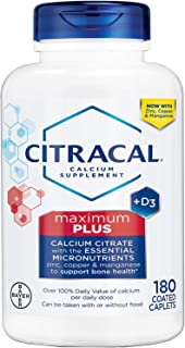 Citracal Calcium Citrate Formula Maximum Coated Tablets , 180 Count ( Pack Of 3 )