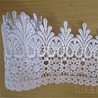 YYCRAFT 2 Chiffon Flower Lace Ribbon Trim for Applique Sewing Craft Wedding Bridal Dress DIY Decoration 3 Yards,Ivory