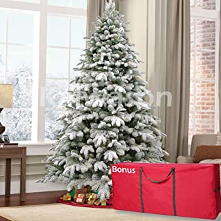 kalwason 7ft Flocked Artificial Christmas Tree Snowy Spruce Unlit Xmas Tree Include Storage Bag, 51