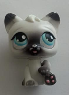 Littlest Pet Shop Magic Motion White & Gray Persian Kitty Cat Kitten, Tongue Sticks Out Of Mouth - Littlest Pet Shop (Retired) Collector Toy - LPS Collectible Replacement Figure - Loose (OOP Out of Package & Print)