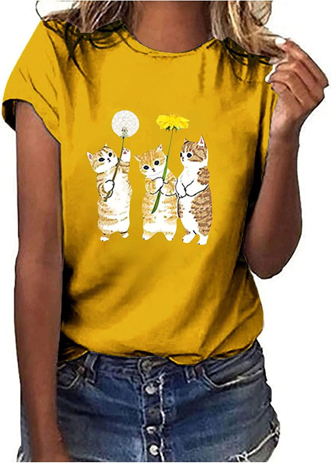 Womens Tops Cute Cat Printed Casual Tunics Summer O-Neck Loose Short Sleeve T-Shirts Fashion Comfy Blouses