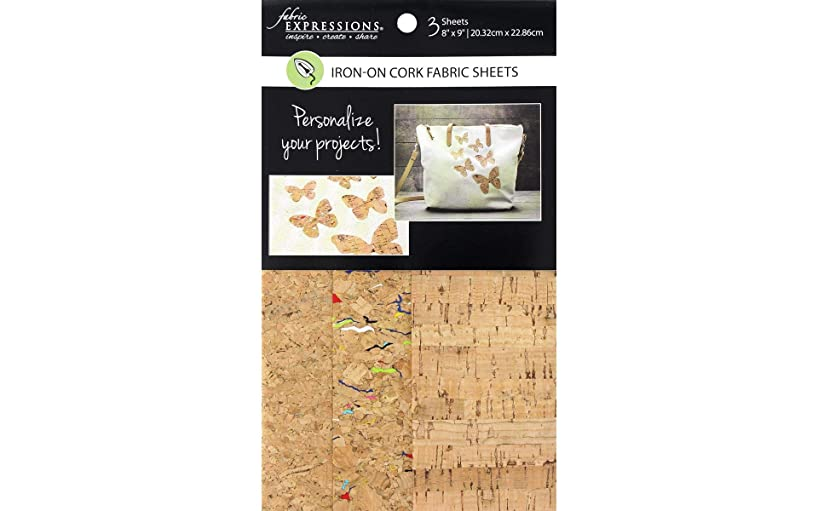Fabric Expressions FE-FS-SP6-CRK3PC Iron-On Sheets Cork 3pc, None