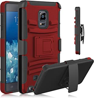 Note Edge Case, HengTech (TM) [Heavy Duty] Armor Holster Defender Full Body Protective Hybrid Case Cover with Kickstand & Belt Swivel Clip for Samsung Galaxy Note Edge (Red+Black)