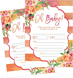 50 Fill in Cute Baby Shower Invitations, Baby Shower Invitations Floral, Pink and Gold
