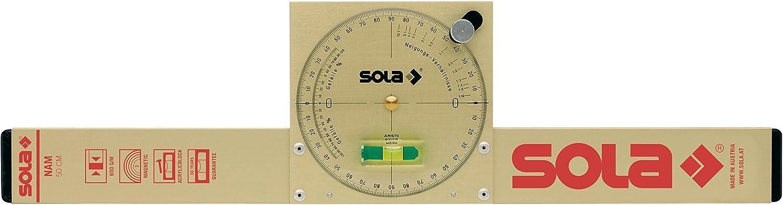 Sola NAM50T Nivel medidor de ángulos magnético de aluminio extra resistente de 50 cm con burbuja de precisión Focus, Único