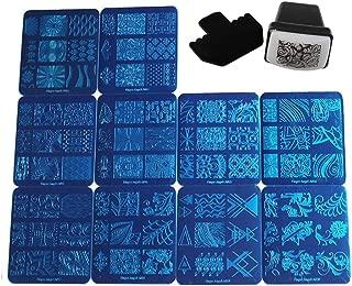 FingerAngel 10 Stamping Plate Mix Design Nail Template +1 Nail Stamper + 1 Scraper Nail Art Image Stamp Stamping Nail Art Plate Manicure Template Nail Art Tools