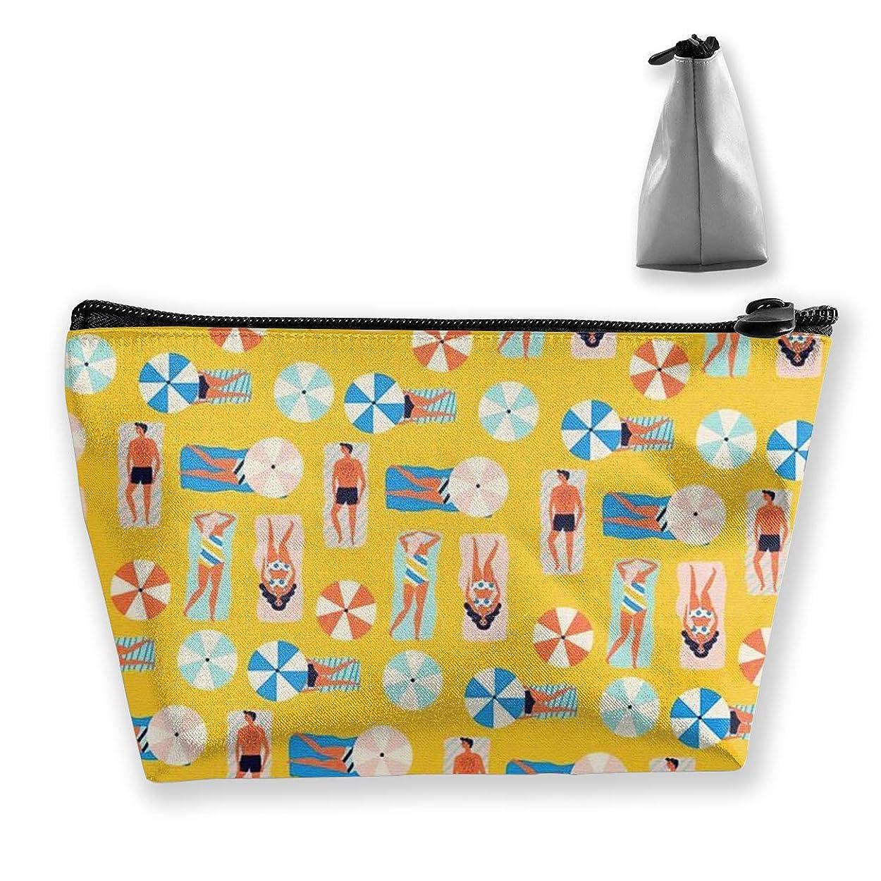 ボックス梨ワゴン夏の海岸 収納ポーチ 化粧ポーチ トラベルポーチ 小物入れ 小財布 防水 大容量 旅行 おしゃれ