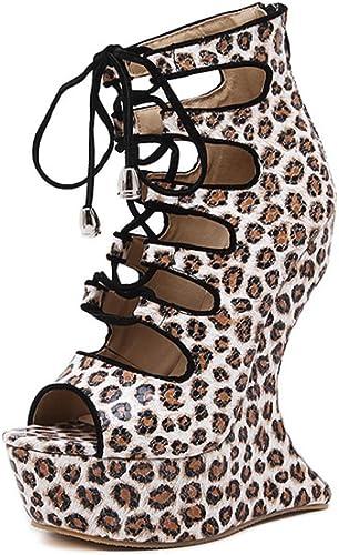 Sandales à Talons Hauts d'été pour Femme, Talons Hauts des Dames des Sandales LéOpard Sexy Plateforme éTanche Pente avec Mode FêTe Repas De Noces, marron, 37