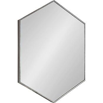 "Kate and Laurel Rhodes Modern Hexagon Wall Mirror, 31"" x 22"", Dark Silver, Chic Geometric Wall Mirror"