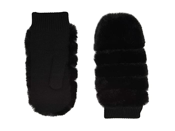 UGG  All Over Faux Fur Mitten with Sherpa Lining (Black) Extreme Cold Weather Gloves