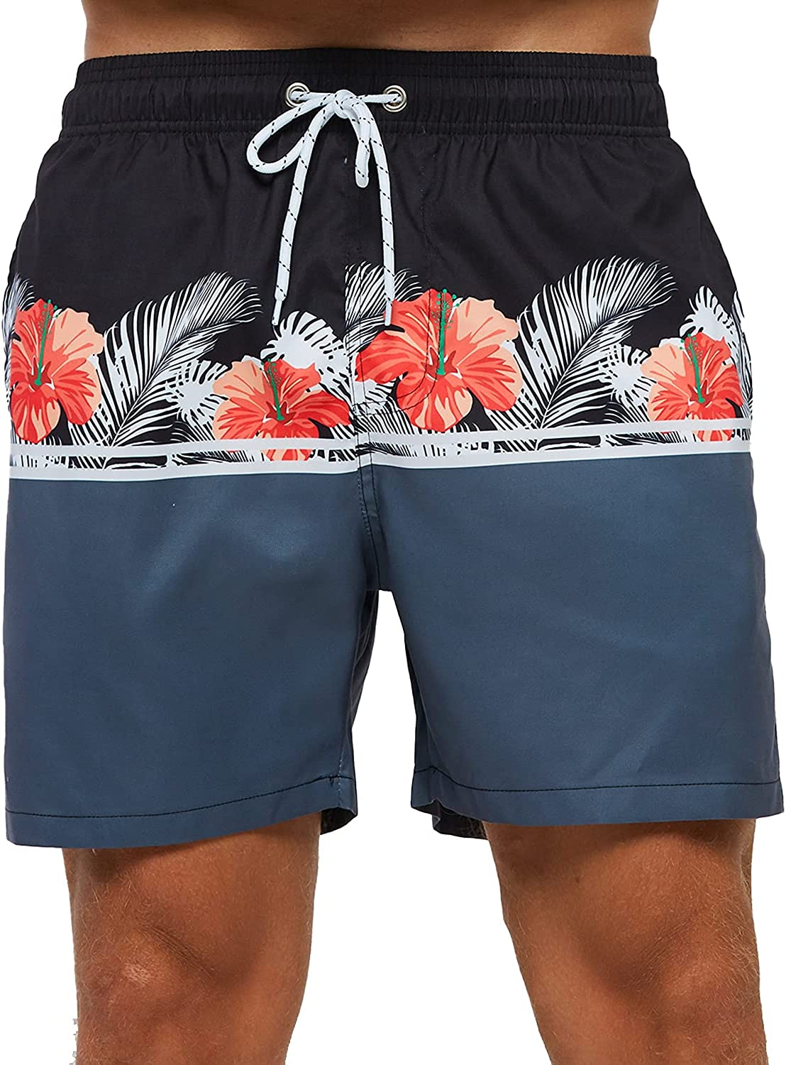 MILLUM Mens Quick Dry Swim Trunks with Mesh Lining Briefs and Back Velcro Pocket Board Shorts
