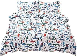 SAIWER 100% Cotton Kids Duvet Cover Sets, Cartoon Dinosaur Bedding Sets for Teens Boys, 1 Duvet Cover 2 Pillowcases, Queen Size