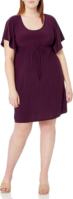 Star Vixen Women's Plus-Size Flutter-Sleeve Dress