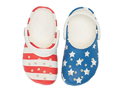 Crocs Kids Classic American Flag Clog (Toddler/Little Kid) (White/Multi) Kids Shoes