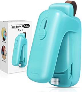 EZCO Bag Sealer Mini, Handheld Bag Heat Vacuum Sealer, 2 in 1 Heat Sealer & Cutter Portable Bag Resealer Machine Food Saver for Plastic Bags Storage Snack Cookies Fresh (Battery Included)