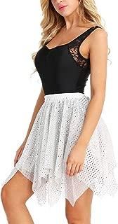 MUZIBLUE Maillot de Gimnasia para Mujer, Falda de Baile Latino con Purpurina, Lunares asimétricos, Falda de Baile Latina