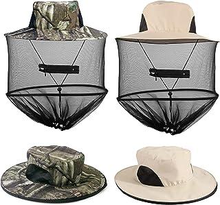 2 Pack Mosquito Head Net Hat, Sun Hat Bucket Hat with Hidden Net Mesh Mask for Outdoor Lover Fishing Hiking Gardening Beek...