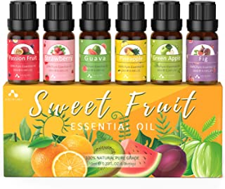 ASAKUKI Fruit Essential Oil Set, Top 6 Natural 100% Pure Aromatherapy Oils for Oil Diffusers, Passion Fruit, Strawberry, G...