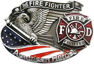 New Vintage American Hero Firefighter Fire Enamel Belt Buckle also Stock in US