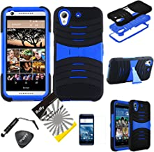 HTC Desire 626 626S ITUFFY(TM) 4items Combo: LCD Film + Stylus Pen + Case Opener + 2 tone Dual Layer KickStand Armor Hybrid Cover Hard Snap On Plastic Case (Black/Blue)