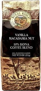 Royal Kona 10% Kona Coffee Blend, Vanilla Macadamia Flavor - Ground, 8 Ounce Bag
