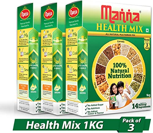 Manna Multigrain Mixes Of Natural Nuts Cereals Pulses Health Nutrition Drink Pack Of 3 1Kg Each