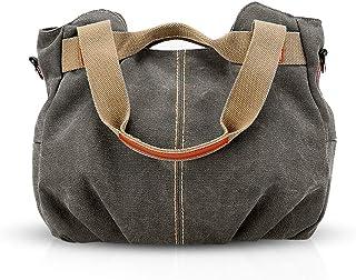 NICOLE & DORIS Canvas Tasche Damen Tragetaschen für Damen Schultertaschen Umhängetasche Leinwand Handtasche Mädchen grau