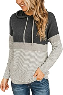 Trendy Queen Womens Long Sleeve Shirts Color Block Hoodies Fall Tops Clothes Casual Pullover Sweatshirts