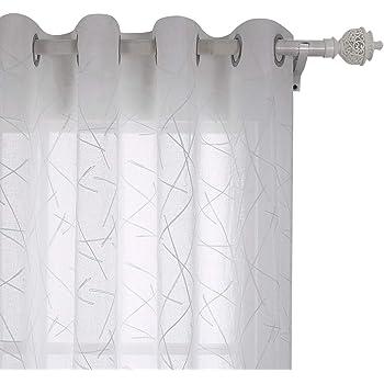 Deconovo Cortinas Visillos para Hogar Habitación Cortinas Translúcidas de Visillo 2 Piezas 140 x 175 cm Hilos Blanco: Amazon.es: Hogar