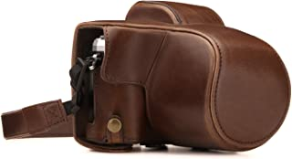 MegaGear Olympus OM-D E-M10 Mark III (14-42mm) Ever Ready Leather Camera Case and Strap, with Battery Access - Dark Brown - MG1346