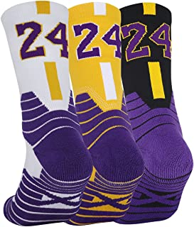 Pimaja Basketball Socks 3 Pairs, Athletic Socks with 3D Ankle Protection , Compression Cushion Sport Socks for Men &