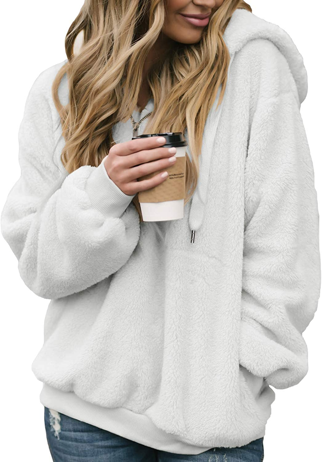 Actloe Women Casual Fuzzy Hoodie Pullover Sweatshirt Cozy Outwear with Pockets