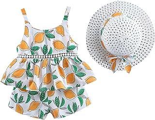 Jugendhj Babysuit 🇨🇦🇨🇦Toddler Baby Kids Girls Floral Fruit Strap Tops Shorts Outfits Hat Casual Set Orange