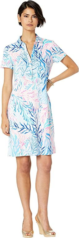 Crew Blue Tint Kaleidoscope Coral Engineered Dress