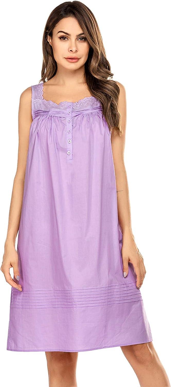 Hotouch Women's Comfort Cotton Nightshirt Sleeveless Sleepwear Nightgowns S-XXL
